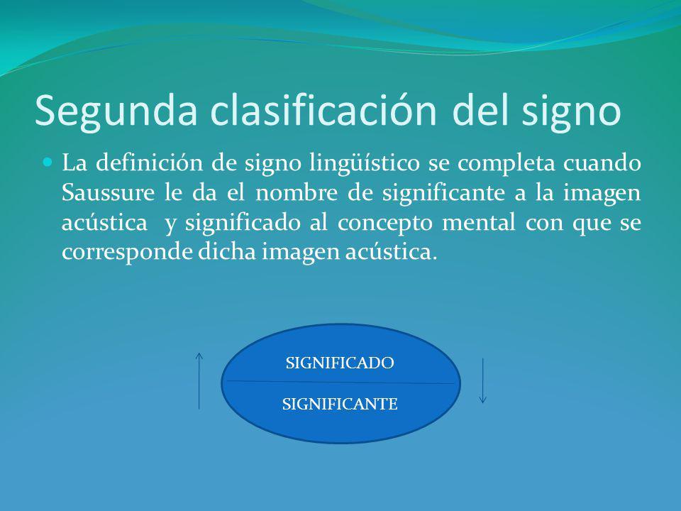 Segunda clasificación del signo