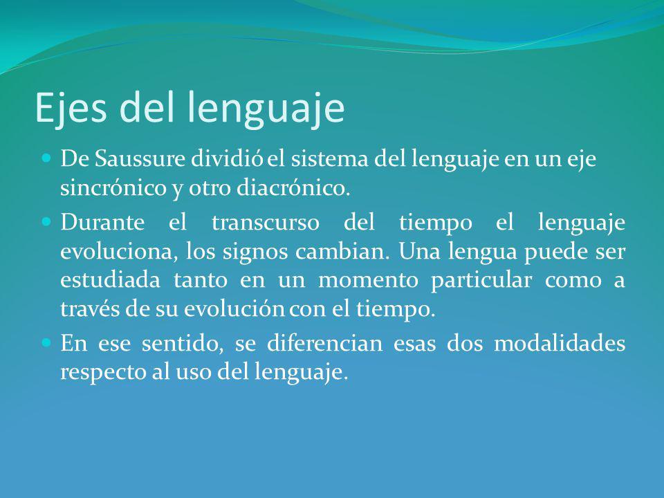 Ejes del lenguaje De Saussure dividió el sistema del lenguaje en un eje sincrónico y otro diacrónico.
