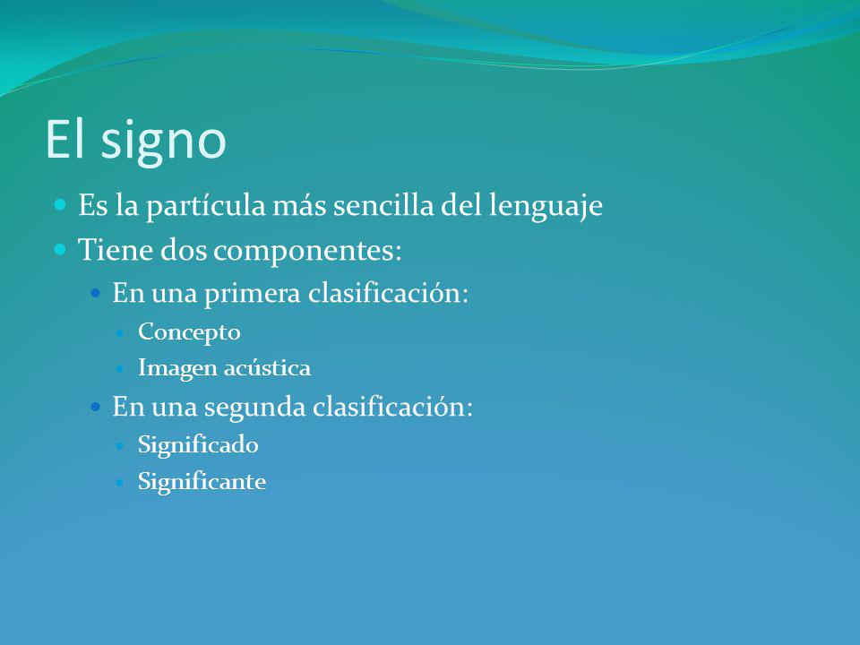 El signo Es la partícula más sencilla del lenguaje