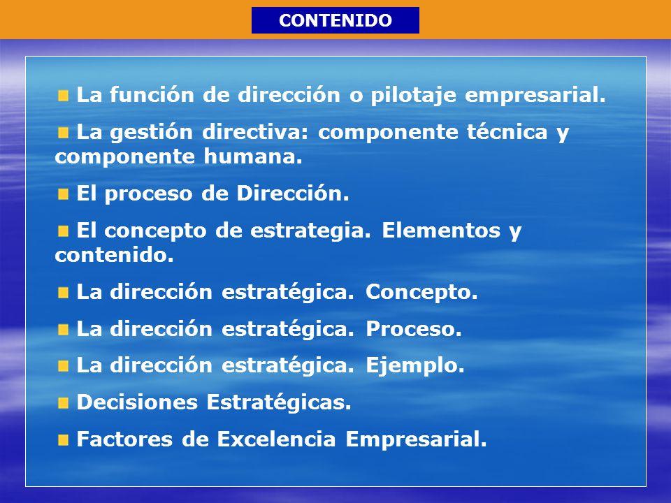 La función de dirección o pilotaje empresarial.