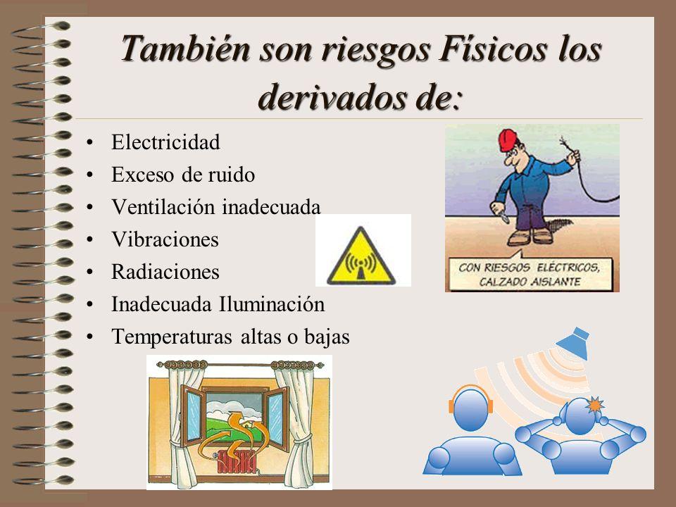 También son riesgos Físicos los derivados de: