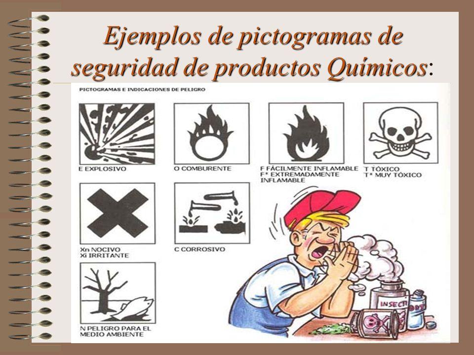 Ejemplos de pictogramas de seguridad de productos Químicos: