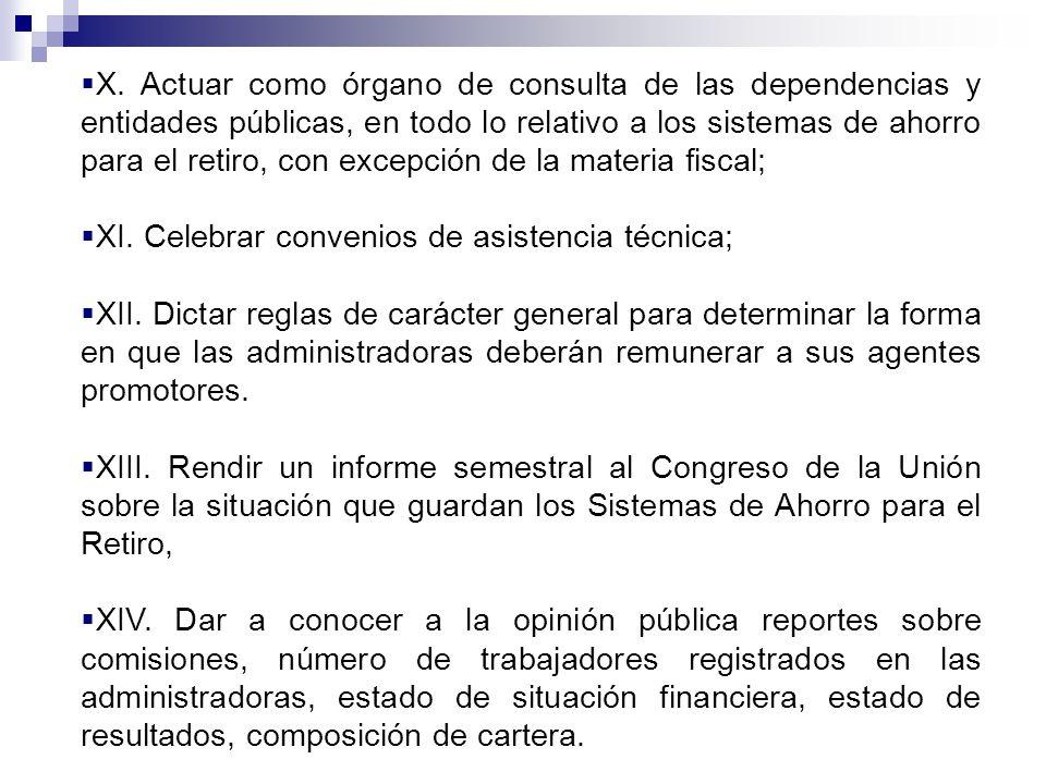 X. Actuar como órgano de consulta de las dependencias y entidades públicas, en todo lo relativo a los sistemas de ahorro para el retiro, con excepción de la materia fiscal;
