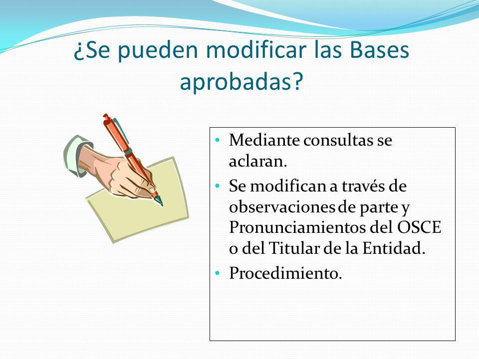 ¿Se pueden modificar las Bases aprobadas
