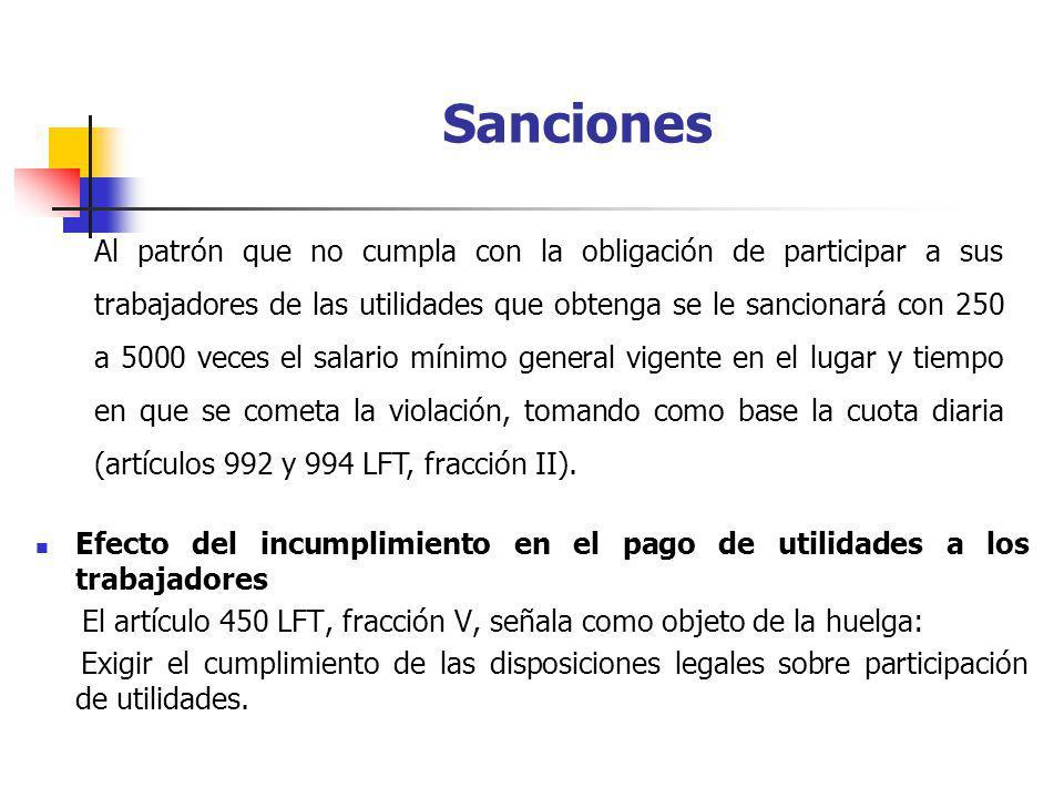 Sanciones Efecto del incumplimiento en el pago de utilidades a los trabajadores. El artículo 450 LFT, fracción V, señala como objeto de la huelga: