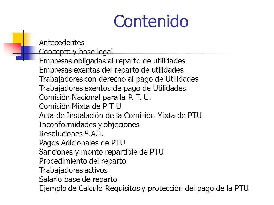 Contenido Antecedentes Concepto y base legal