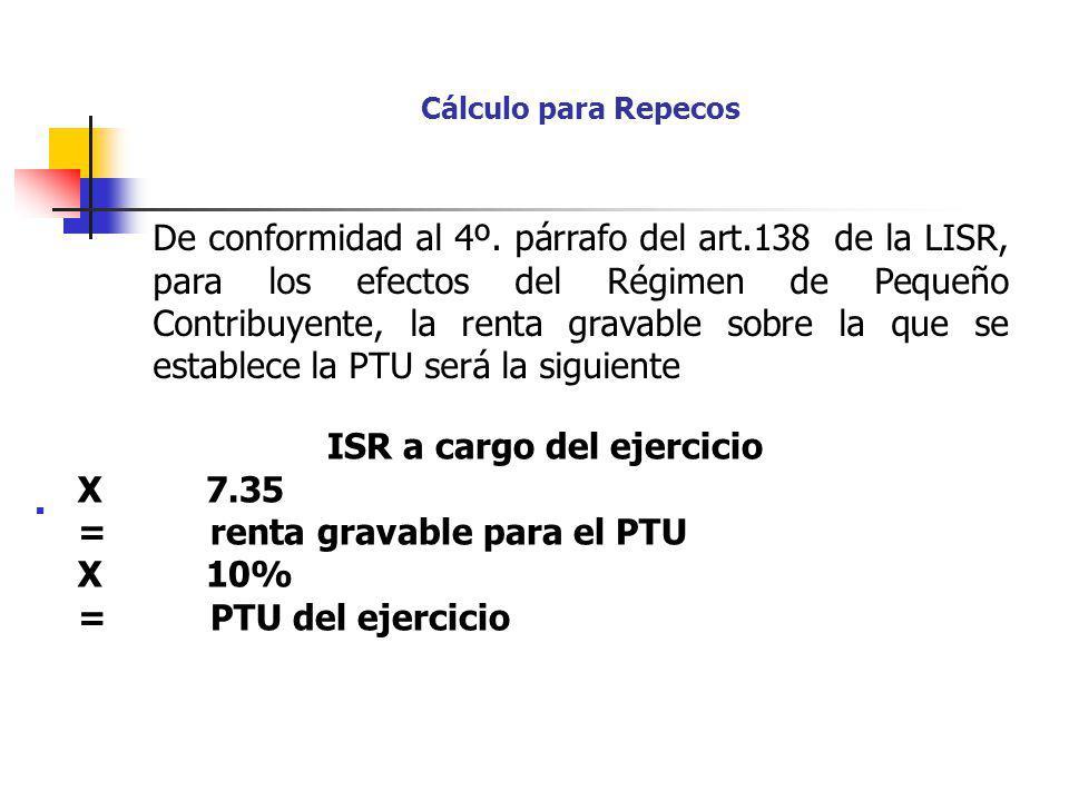 ISR a cargo del ejercicio X 7.35 = renta gravable para el PTU X 10%