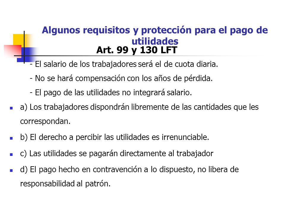 Algunos requisitos y protección para el pago de utilidades