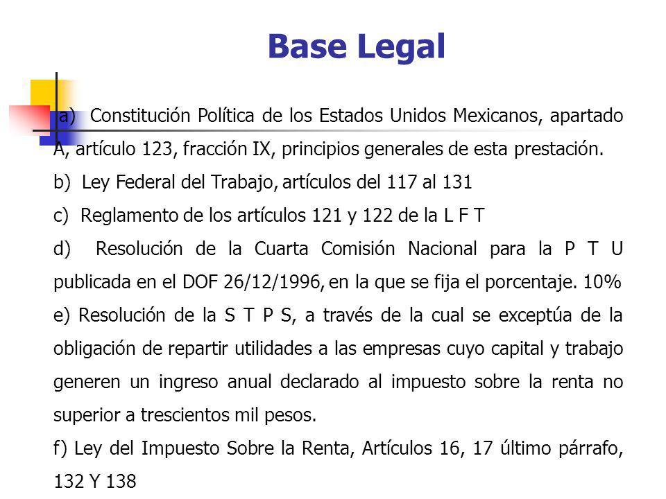 Base Legal a) Constitución Política de los Estados Unidos Mexicanos, apartado A, artículo 123, fracción IX, principios generales de esta prestación.