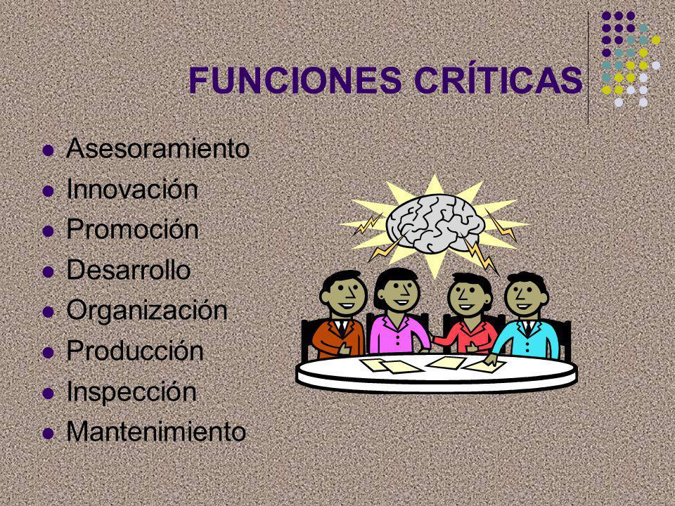 FUNCIONES CRÍTICAS Asesoramiento Innovación Promoción Desarrollo
