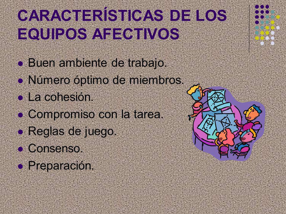 CARACTERÍSTICAS DE LOS EQUIPOS AFECTIVOS