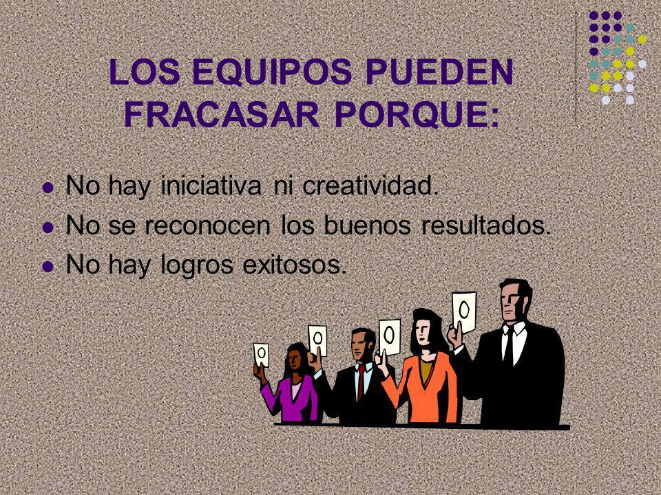 LOS EQUIPOS PUEDEN FRACASAR PORQUE: