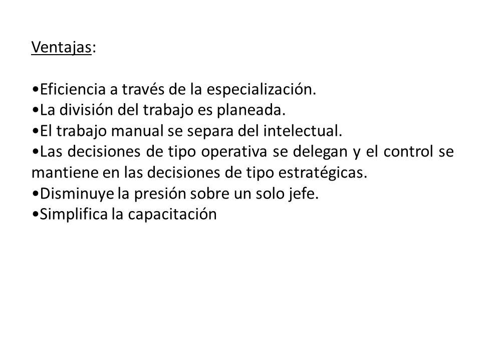 Ventajas: Eficiencia a través de la especialización. La división del trabajo es planeada. El trabajo manual se separa del intelectual.
