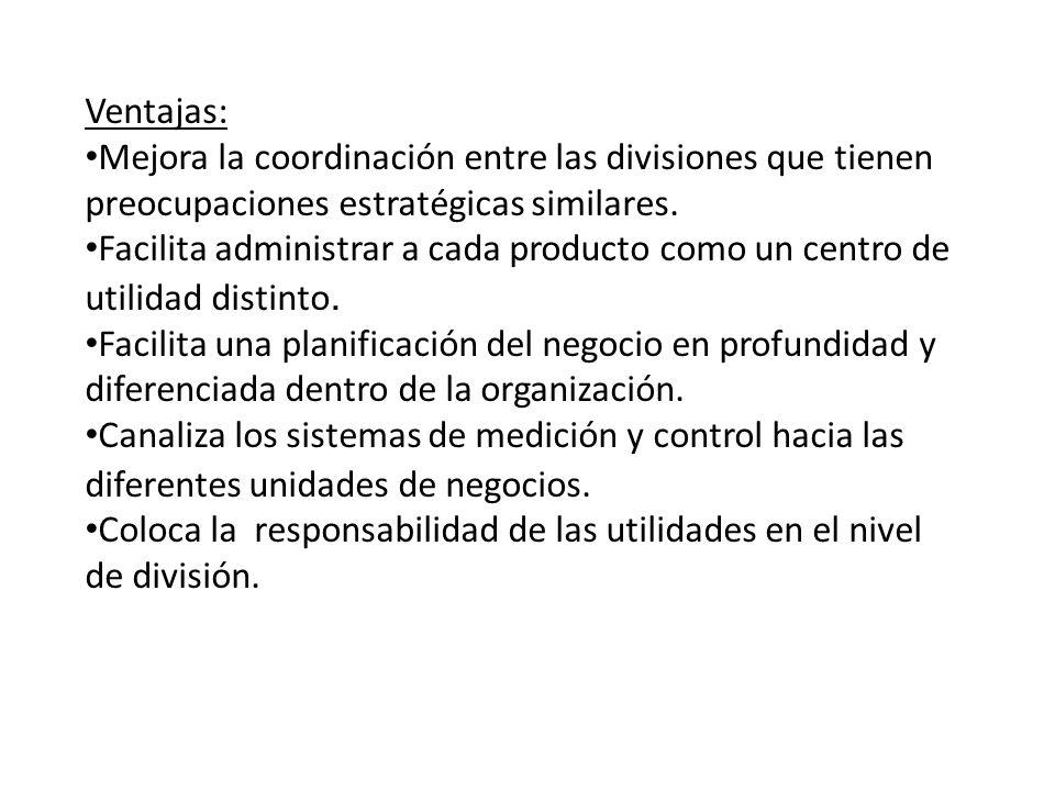 Ventajas: Mejora la coordinación entre las divisiones que tienen preocupaciones estratégicas similares.
