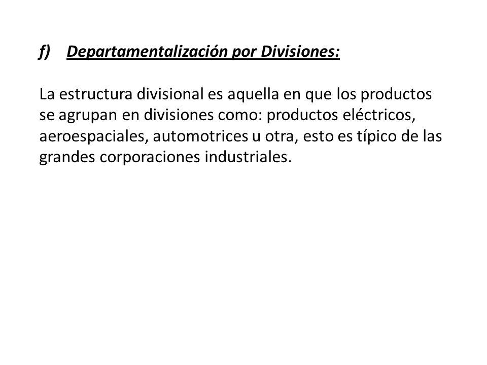 Departamentalización por Divisiones: