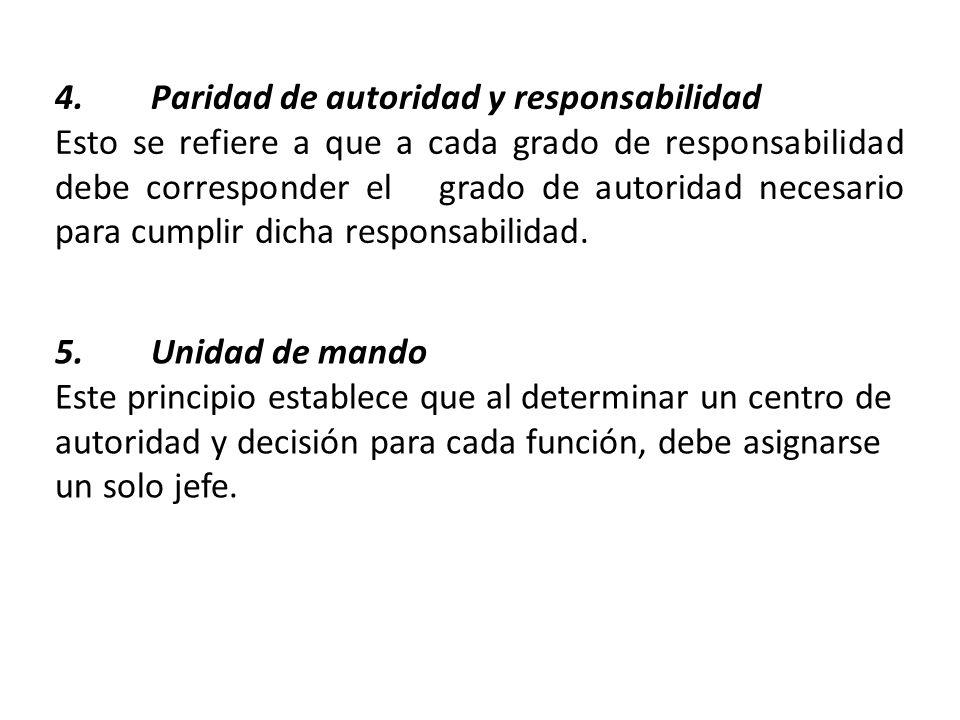 4. Paridad de autoridad y responsabilidad