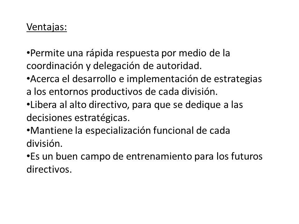 Ventajas: Permite una rápida respuesta por medio de la coordinación y delegación de autoridad.