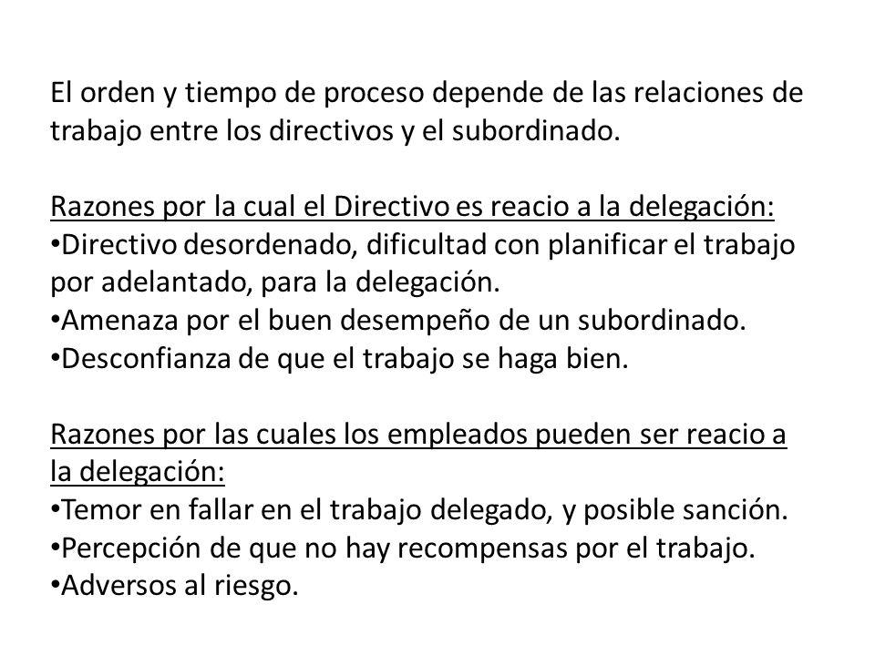 El orden y tiempo de proceso depende de las relaciones de trabajo entre los directivos y el subordinado.