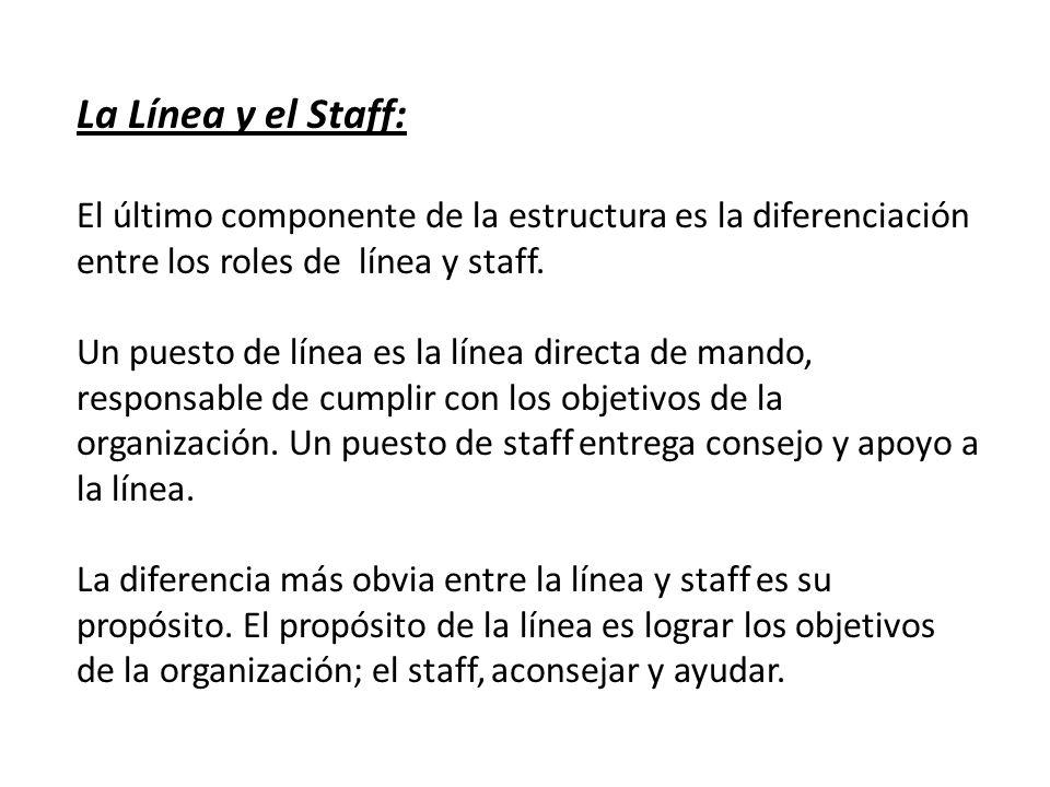 La Línea y el Staff: El último componente de la estructura es la diferenciación entre los roles de línea y staff.