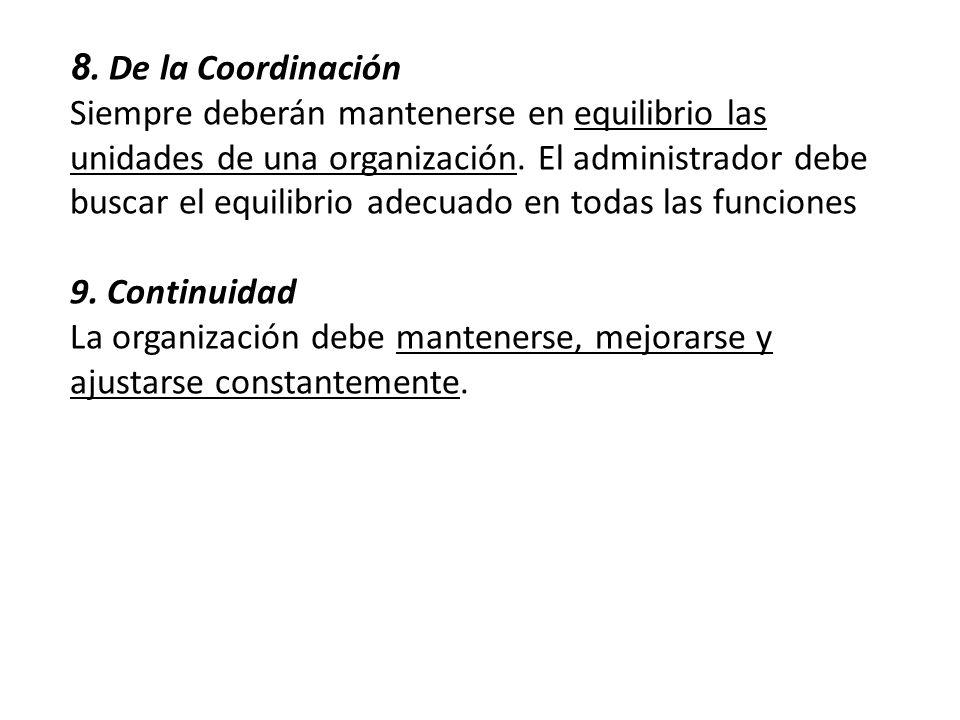 8. De la Coordinación