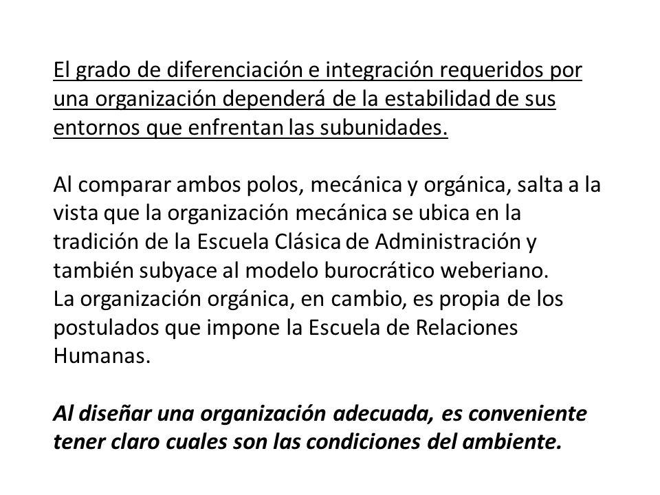 El grado de diferenciación e integración requeridos por una organización dependerá de la estabilidad de sus entornos que enfrentan las subunidades.
