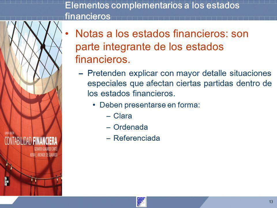 Elementos complementarios a los estados financieros