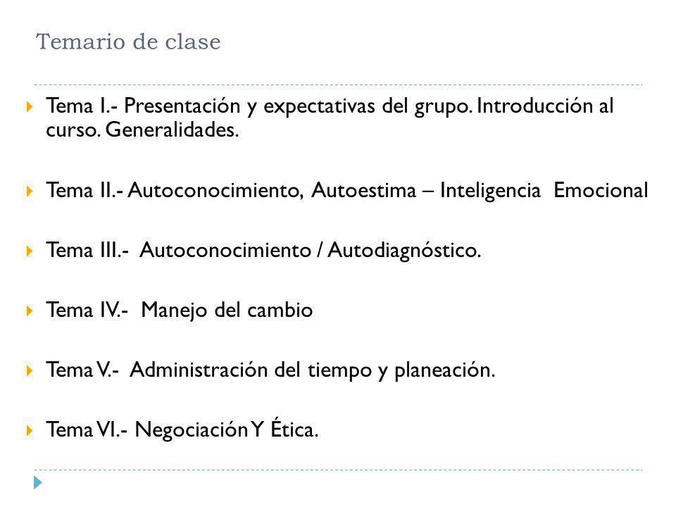 Temario de clase Tema I.- Presentación y expectativas del grupo. Introducción al curso. Generalidades.