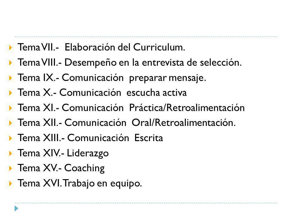 Tema VII.- Elaboración del Curriculum.