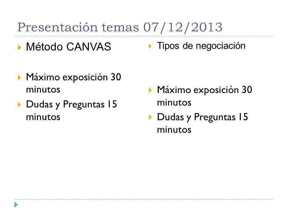 Presentación temas 07/12/2013 Método CANVAS