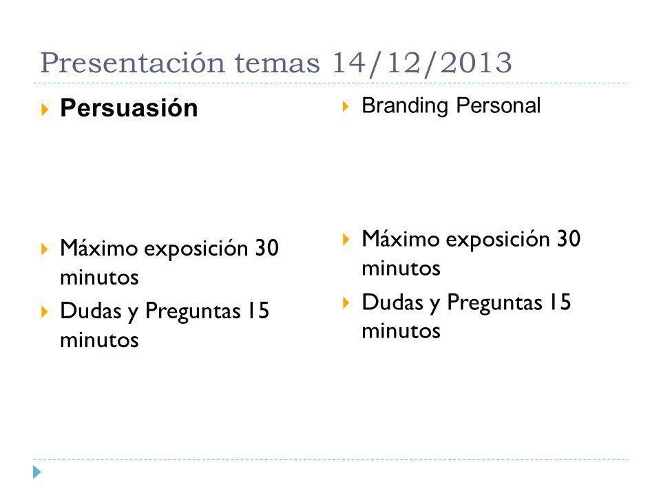 Presentación temas 14/12/2013 Persuasión Máximo exposición 30 minutos