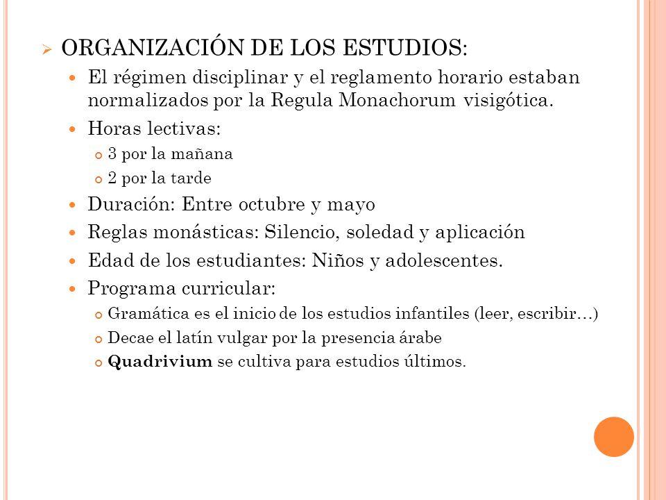 ORGANIZACIÓN DE LOS ESTUDIOS: