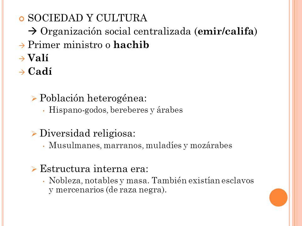  Organización social centralizada (emir/califa)