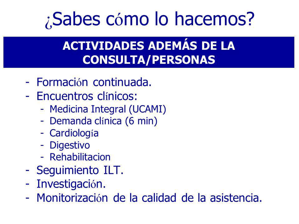 ACTIVIDADES ADEMÁS DE LA CONSULTA/PERSONAS