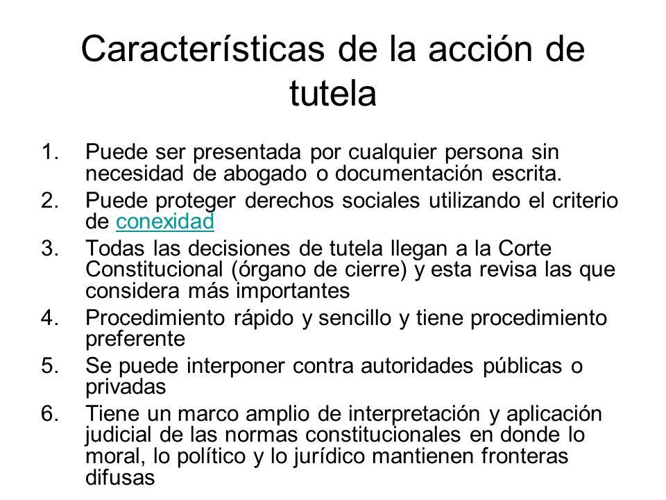 Características de la acción de tutela