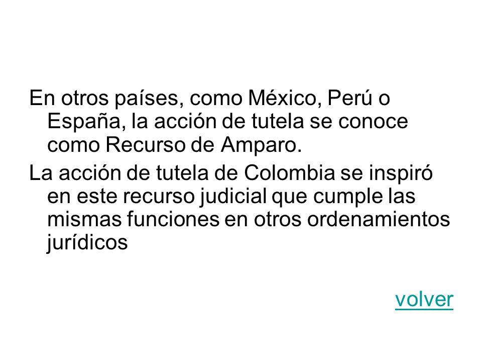 En otros países, como México, Perú o España, la acción de tutela se conoce como Recurso de Amparo.