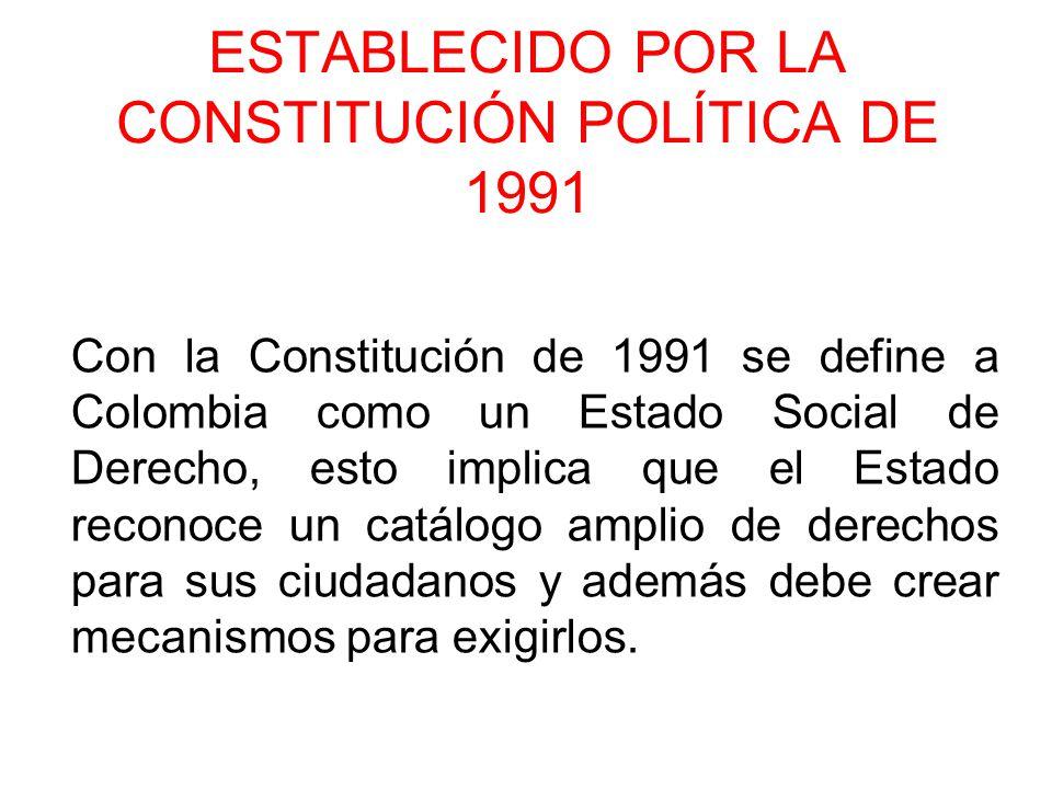 ESTABLECIDO POR LA CONSTITUCIÓN POLÍTICA DE 1991