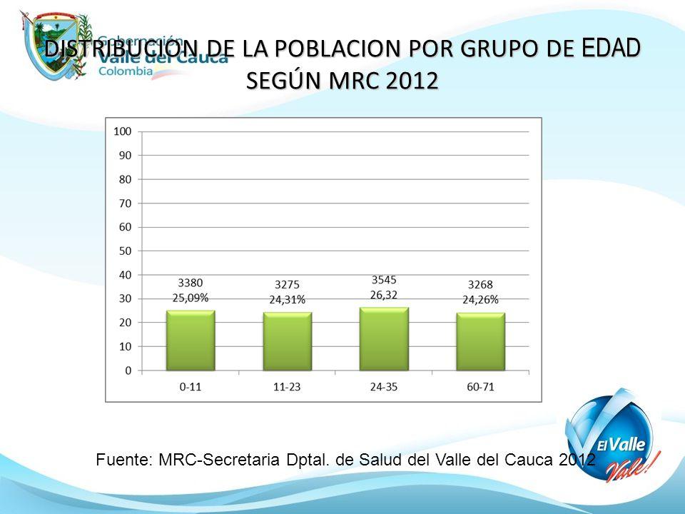 DISTRIBUCION DE LA POBLACION POR GRUPO DE EDAD SEGÚN MRC 2012