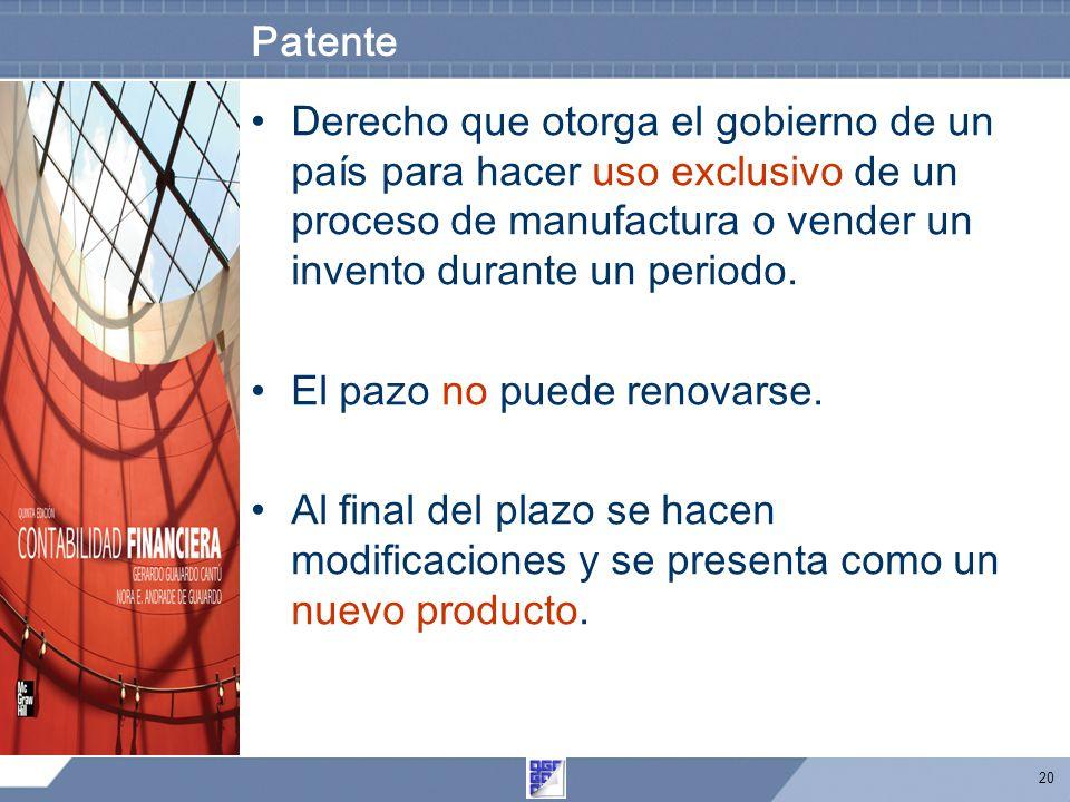 Patente Derecho que otorga el gobierno de un país para hacer uso exclusivo de un proceso de manufactura o vender un invento durante un periodo.