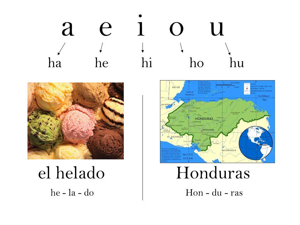 a e i o u el helado Honduras ha he hi ho hu he - la - do