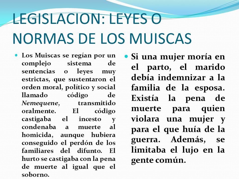 LEGISLACION: LEYES O NORMAS DE LOS MUISCAS