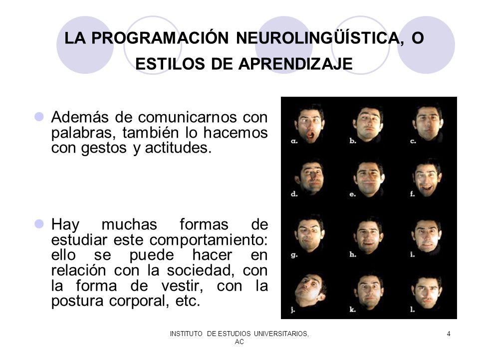 LA PROGRAMACIÓN NEUROLINGÜÍSTICA, O ESTILOS DE APRENDIZAJE