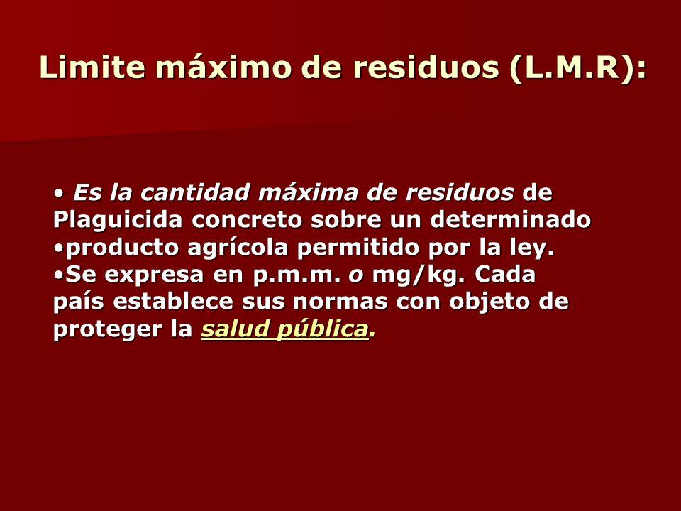Limite máximo de residuos (L.M.R):