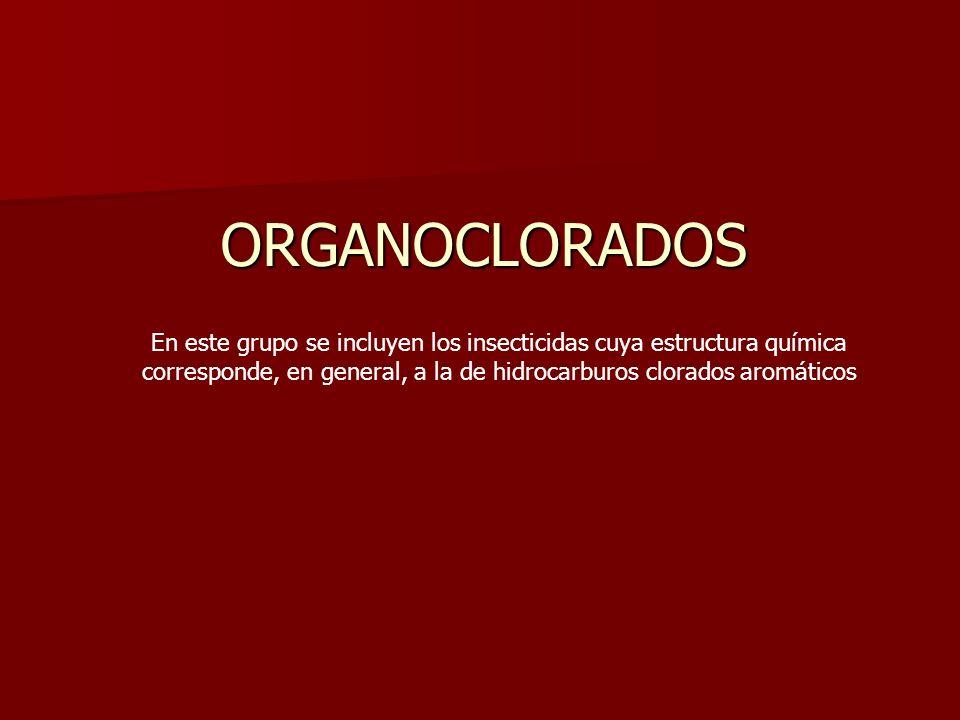 ORGANOCLORADOS En este grupo se incluyen los insecticidas cuya estructura química corresponde, en general, a la de hidrocarburos clorados aromáticos.