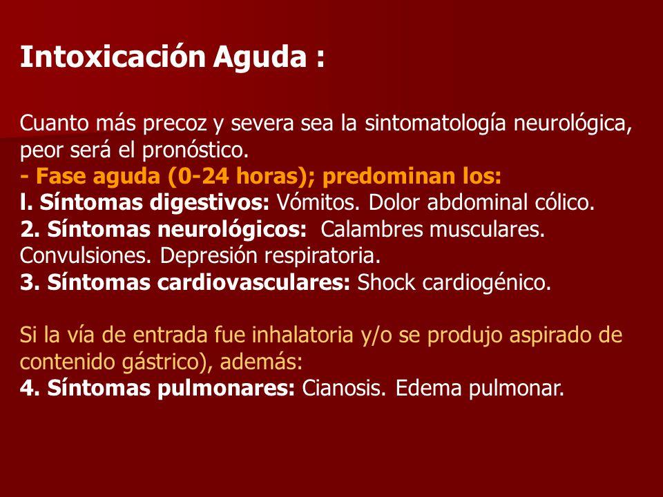 Intoxicación Aguda : Cuanto más precoz y severa sea la sintomatología neurológica, peor será el pronóstico.