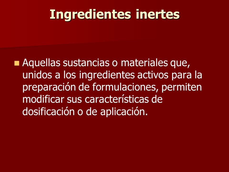 Ingredientes inertes