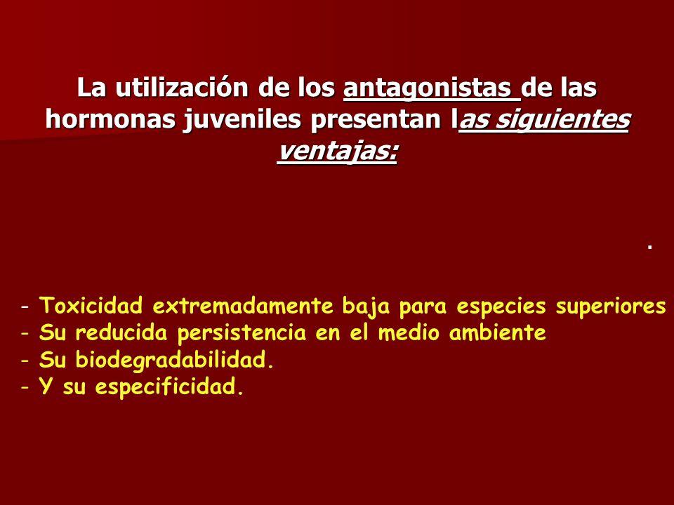 La utilización de los antagonistas de las hormonas juveniles presentan las siguientes ventajas: