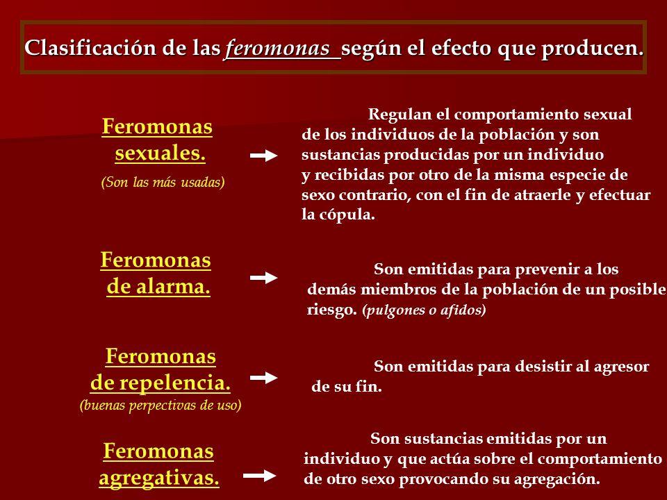 Clasificación de las feromonas según el efecto que producen.