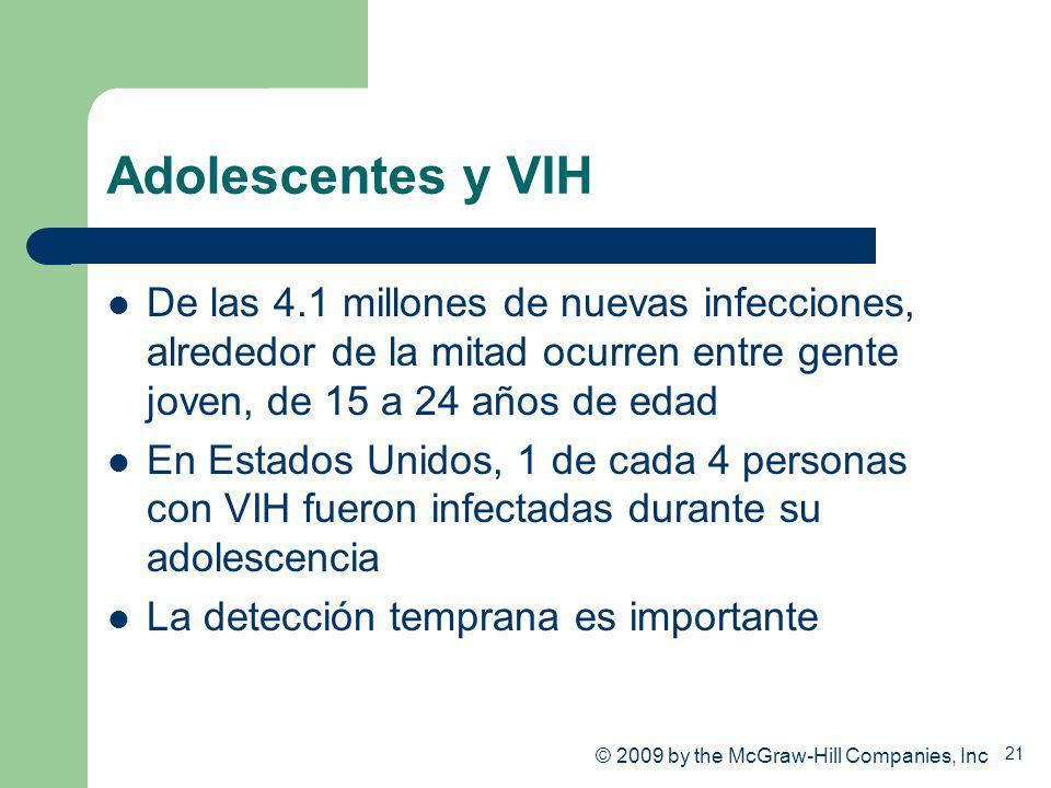 Adolescentes y VIH De las 4.1 millones de nuevas infecciones, alrededor de la mitad ocurren entre gente joven, de 15 a 24 años de edad.