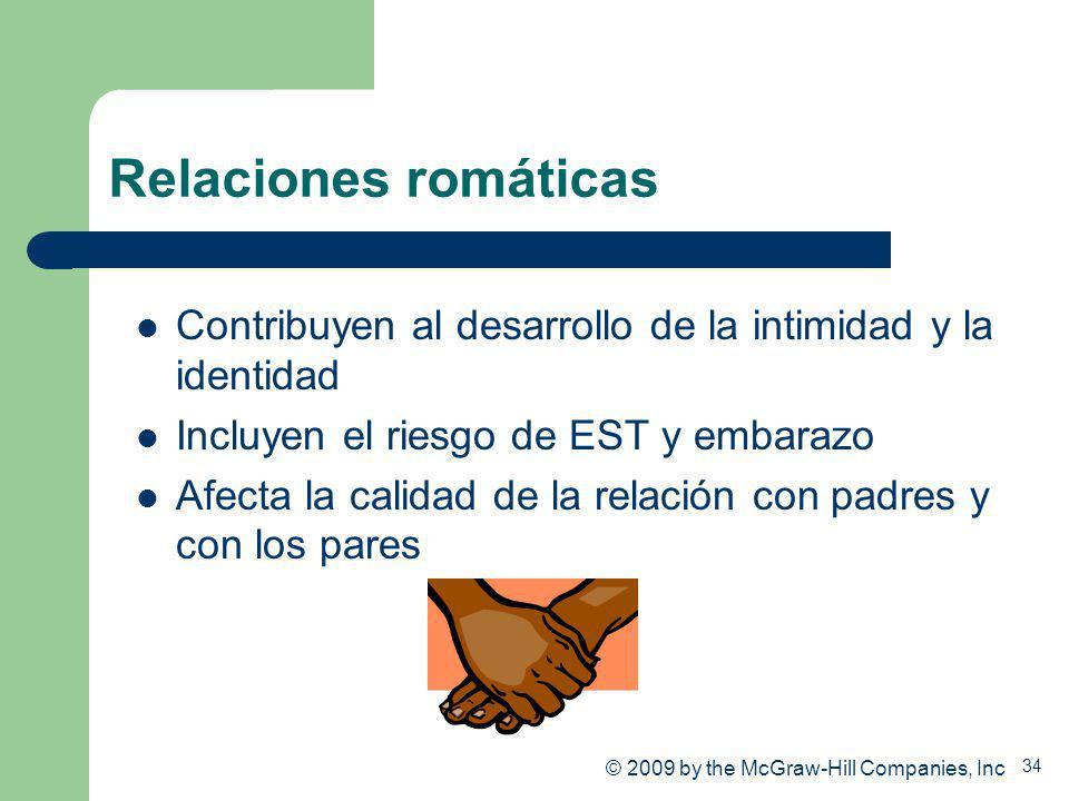 Relaciones romáticas Contribuyen al desarrollo de la intimidad y la identidad. Incluyen el riesgo de EST y embarazo.