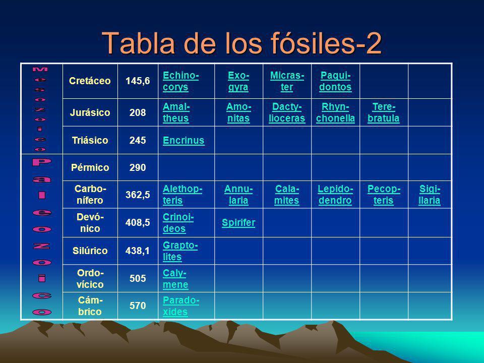 Tabla de los fósiles-2 Paleozoico Mesozoico Cretáceo 145,6